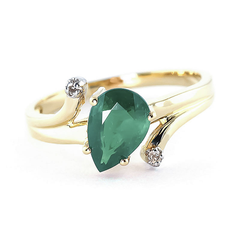 Emerald & Diamond Flank Ring in 9ct Gold