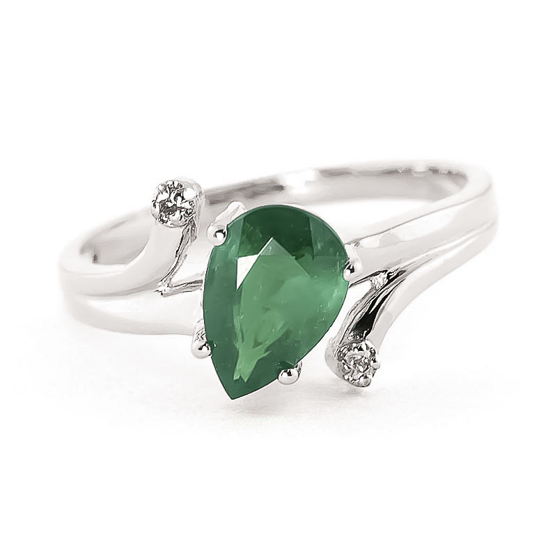 Emerald & Diamond Flank Ring in 18ct White Gold