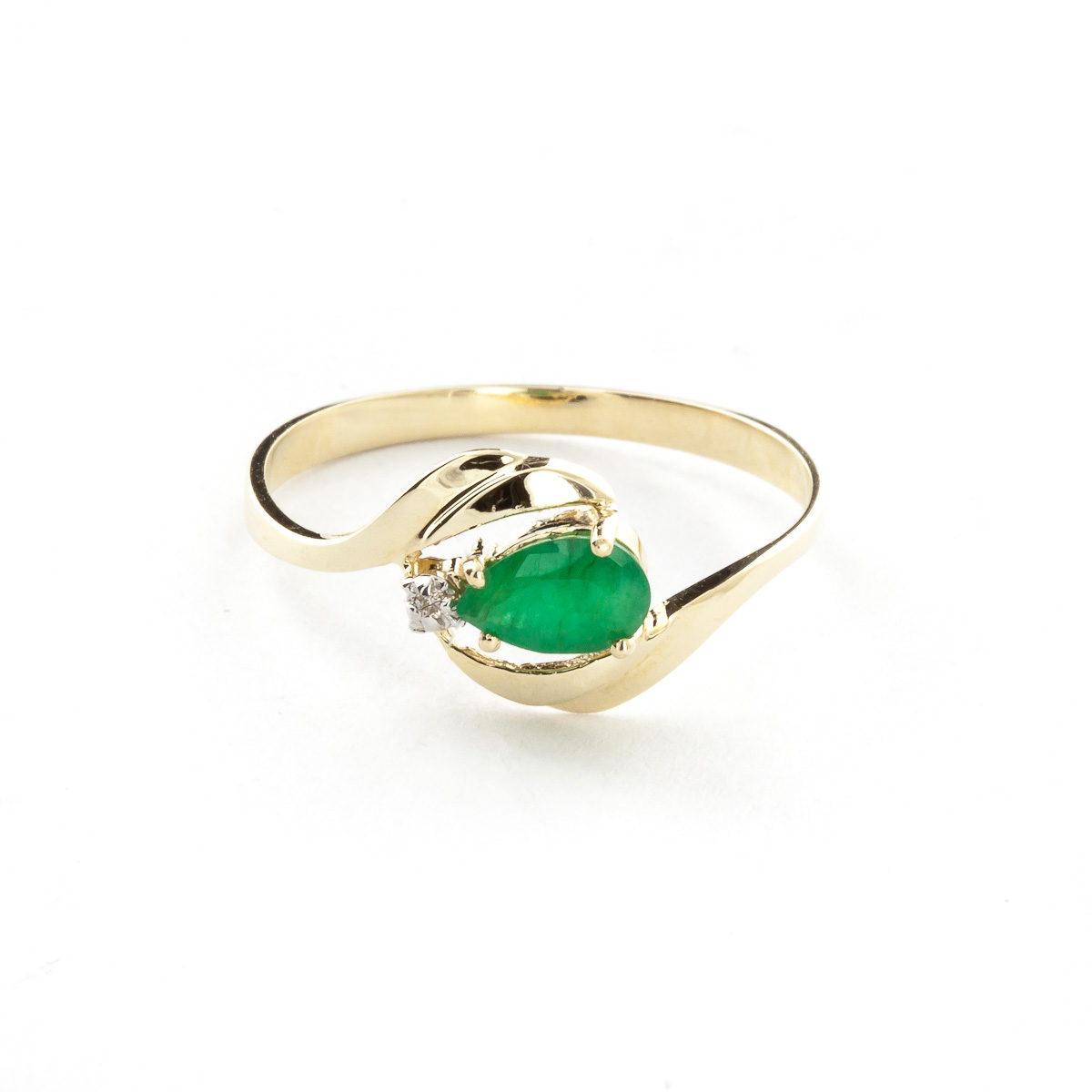 Emerald & Diamond Flare Ring in 9ct Gold