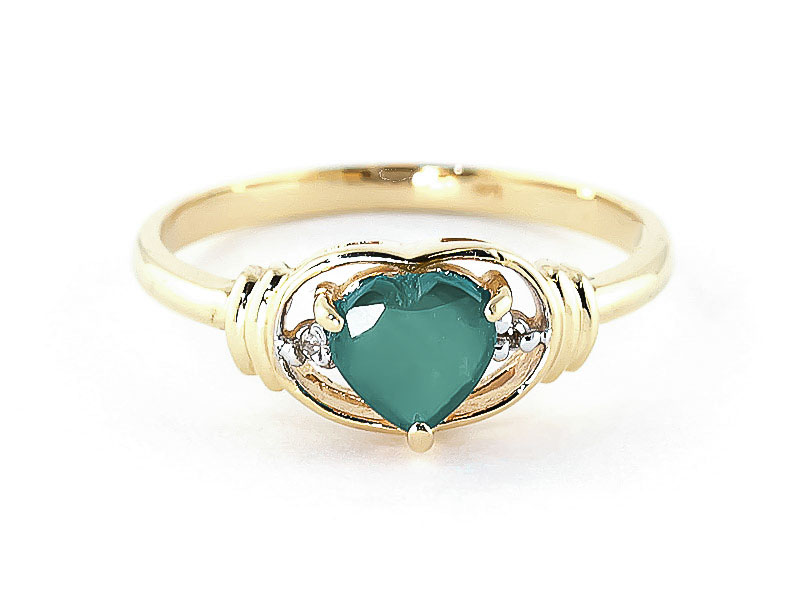 Emerald & Diamond Halo Heart Ring in 9ct Gold