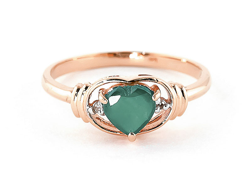Emerald & Diamond Halo Heart Ring in 9ct Rose Gold