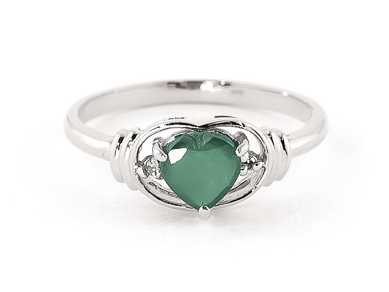 Emerald & Diamond Halo Heart Ring in Sterling Silver