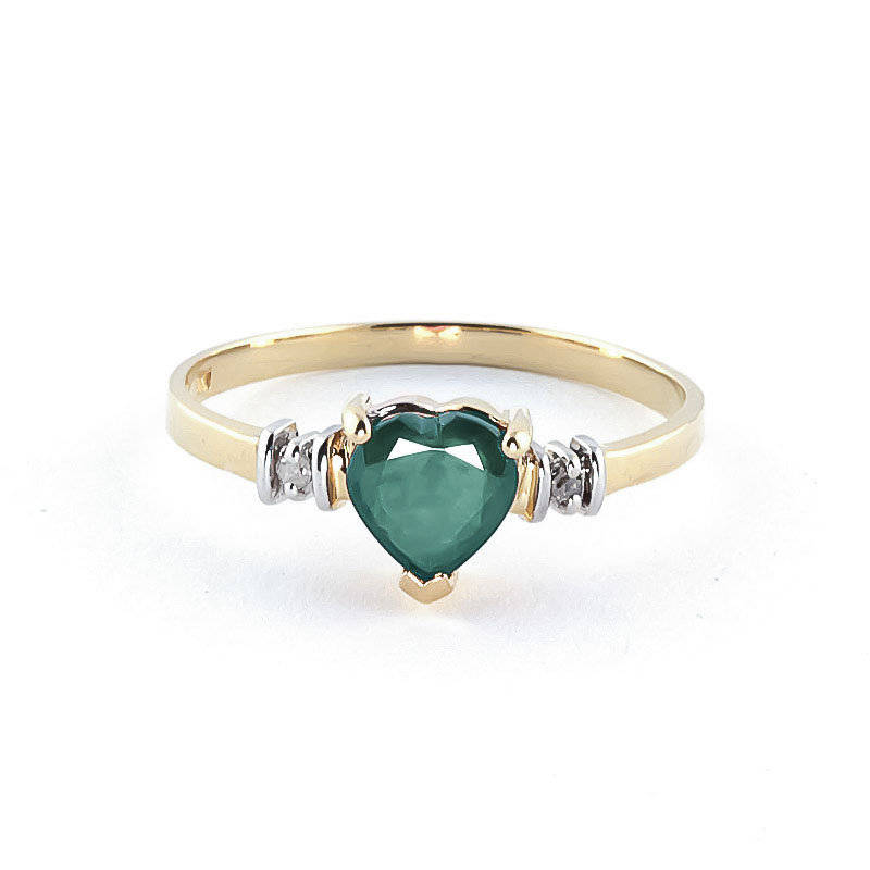 Emerald & Diamond Heart Ring in 9ct Gold