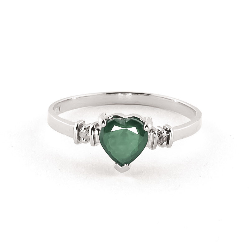 Emerald & Diamond Heart Ring in Sterling Silver