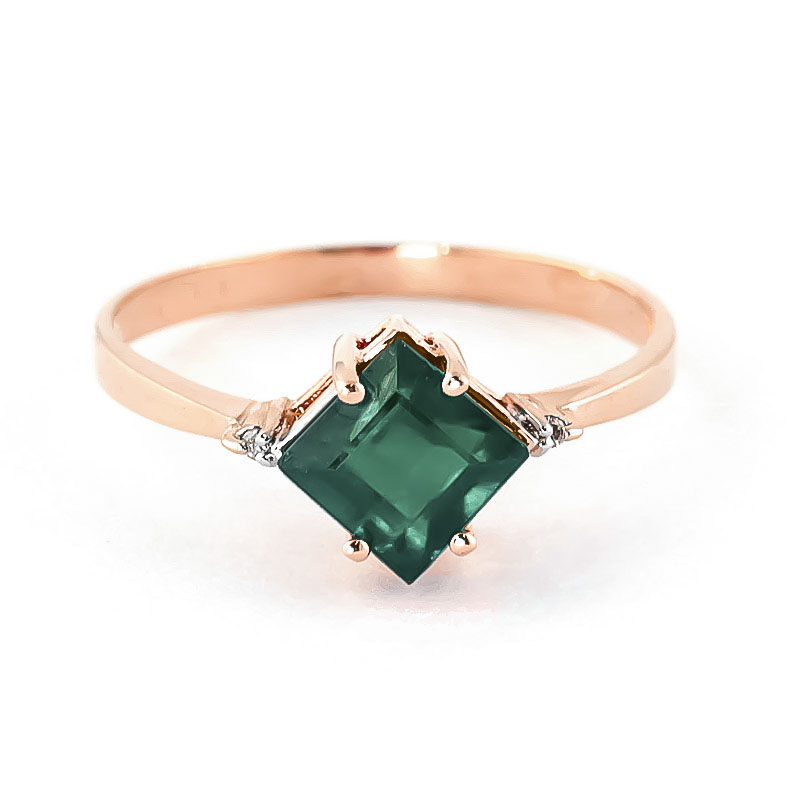 Emerald & Diamond Princess Ring in 9ct Rose Gold