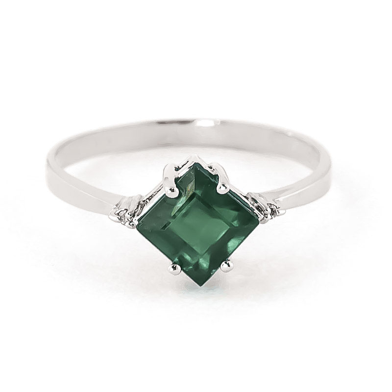 Emerald & Diamond Princess Ring in 18ct White Gold