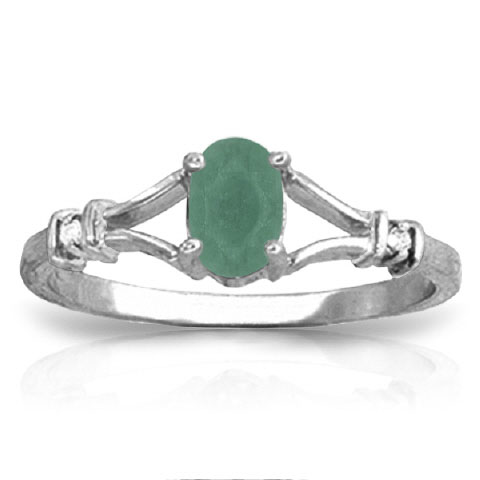 Emerald & Diamond Ring in Sterling Silver