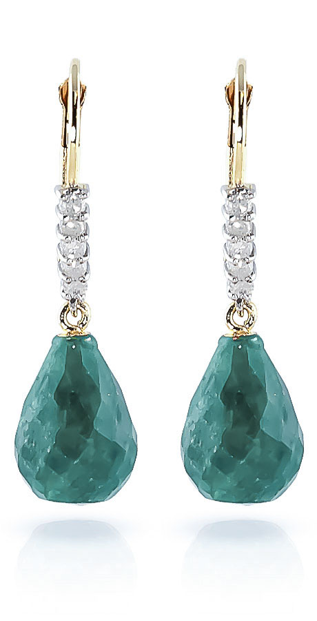 Emerald & Diamond Stem Drop Earrings in 9ct Gold