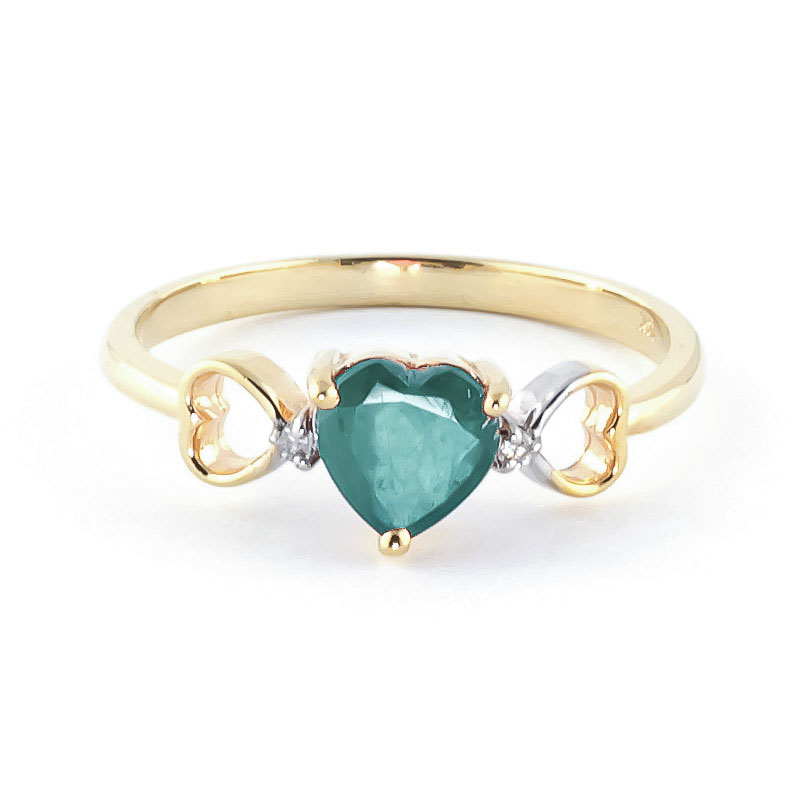 Emerald & Diamond Trinity Ring in 18ct Gold
