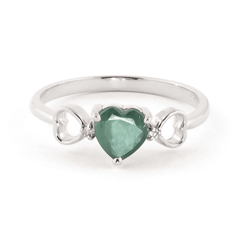 Emerald & Diamond Trinity Ring in Sterling Silver