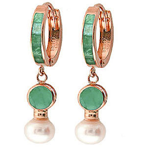 Emerald & Pearl Huggie Earrings in 9ct Rose Gold