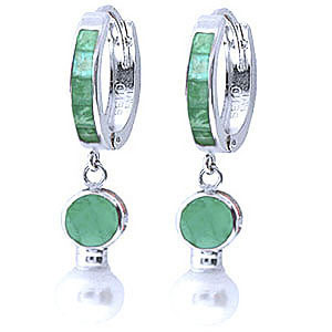 Emerald & Pearl Huggie Earrings in 9ct White Gold