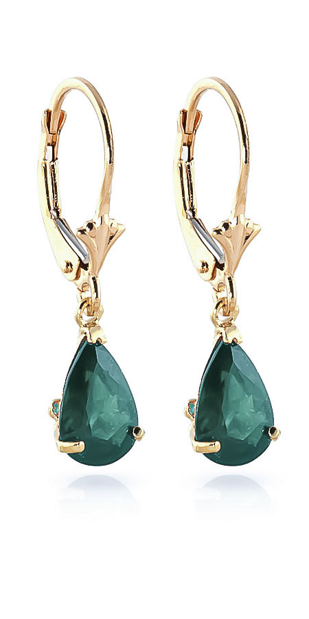 Emerald Belle Drop Earrings 2 ctw in 9ct Gold