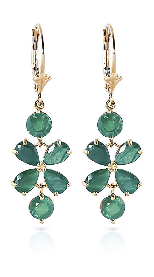 Emerald Blossom Drop Earrings 5.32 ctw in 9ct Gold