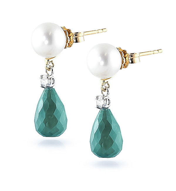 Emerald, Diamond & Pearl Drop Earrings in 9ct Gold