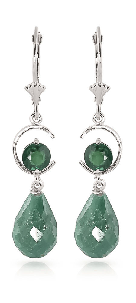 Emerald Drop Earrings 18.6 ctw in 9ct White Gold