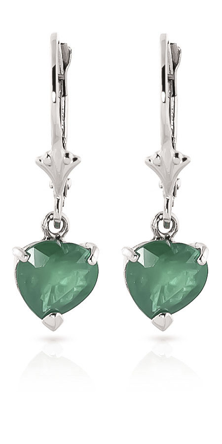 Emerald Drop Earrings 2.4 ctw in 9ct White Gold