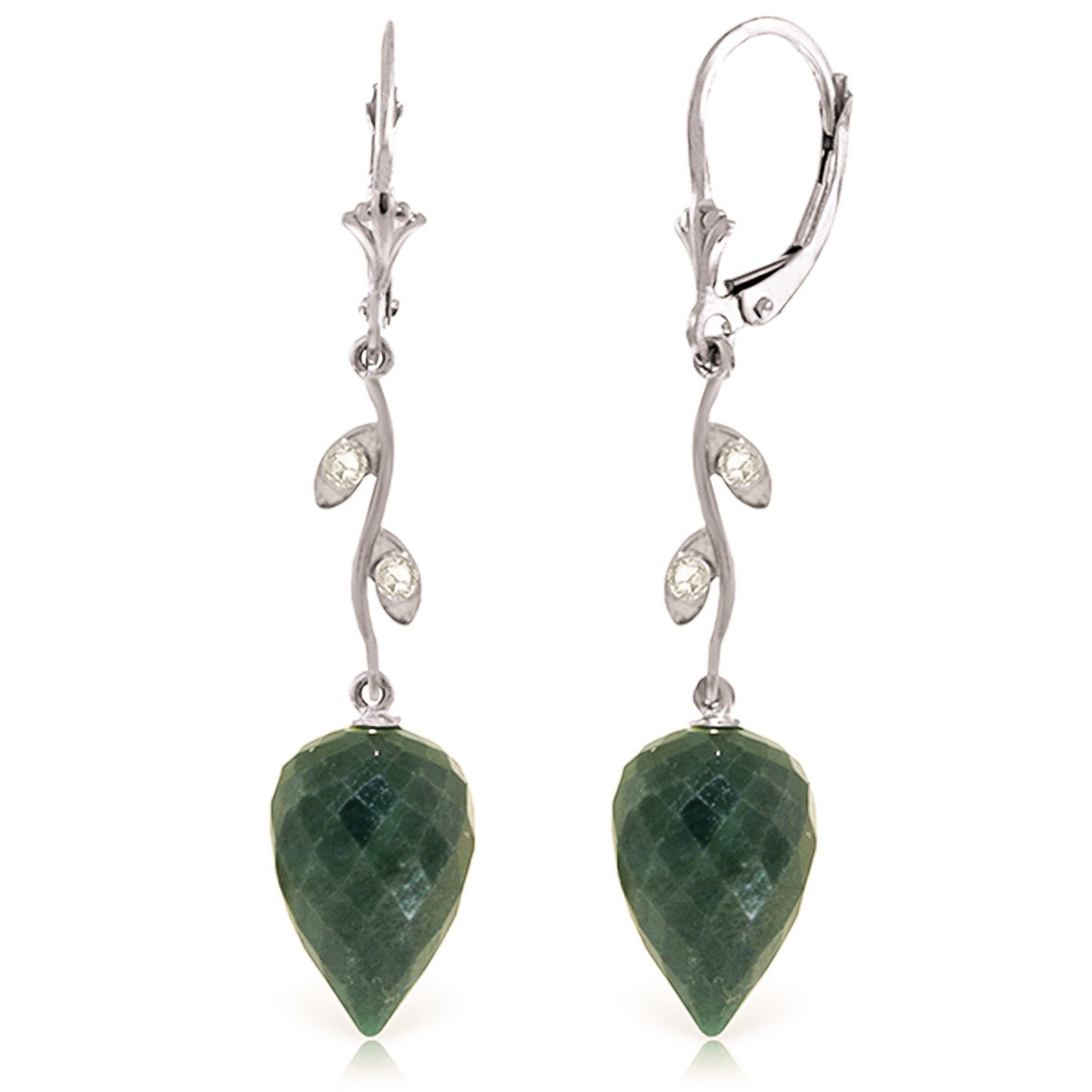 Emerald Drop Earrings 25.72 ctw in 9ct White Gold