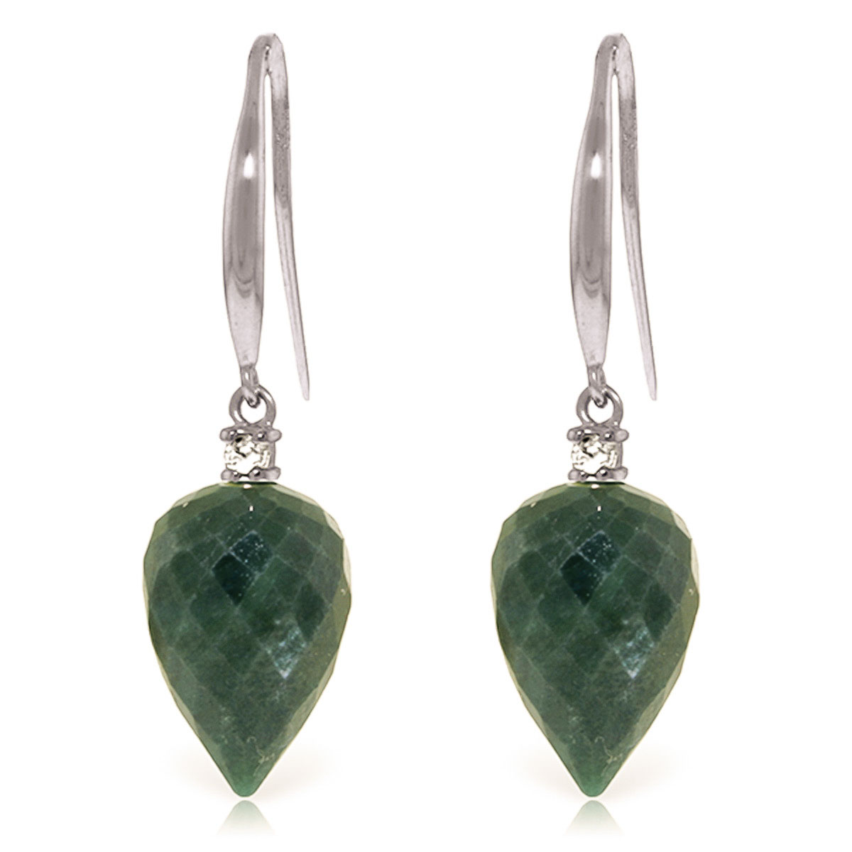 Emerald Drop Earrings 25.9 ctw in 9ct White Gold