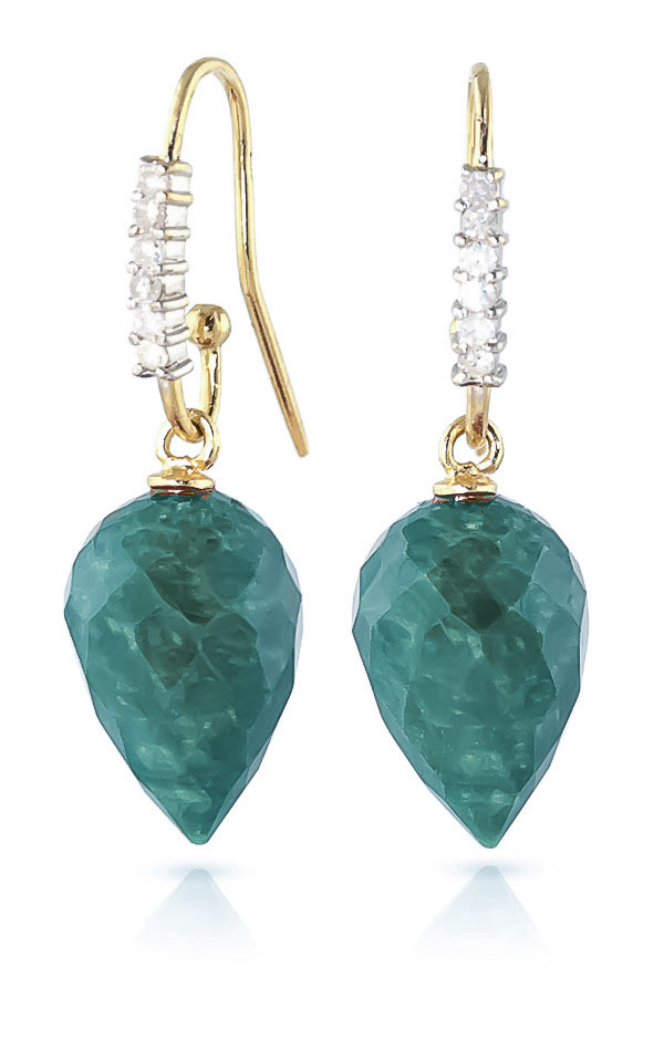 Emerald Drop Earrings 25.98 ctw in 9ct Gold