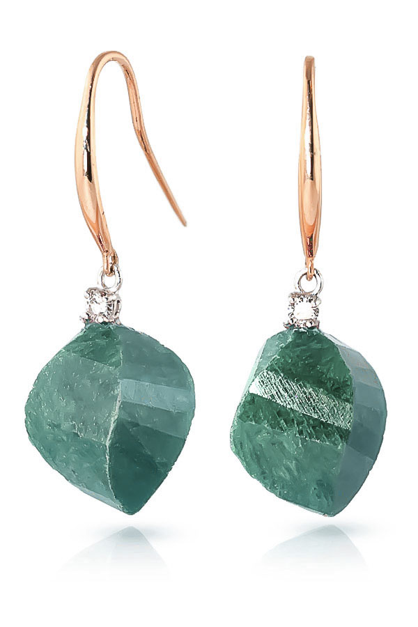 Emerald Drop Earrings 30.6 ctw in 9ct Rose Gold