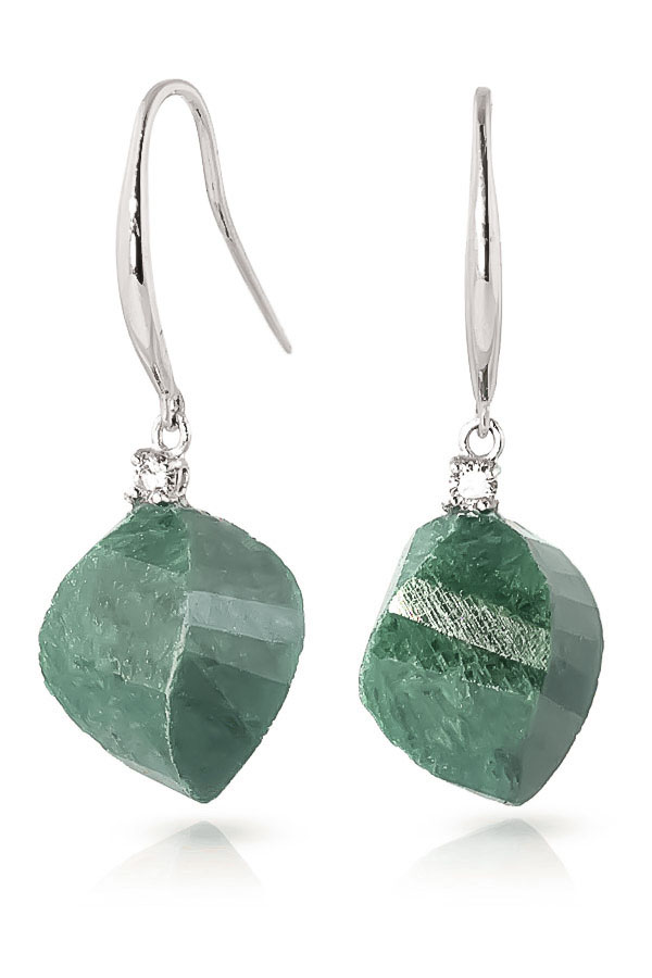 Emerald Drop Earrings 30.6 ctw in 9ct White Gold