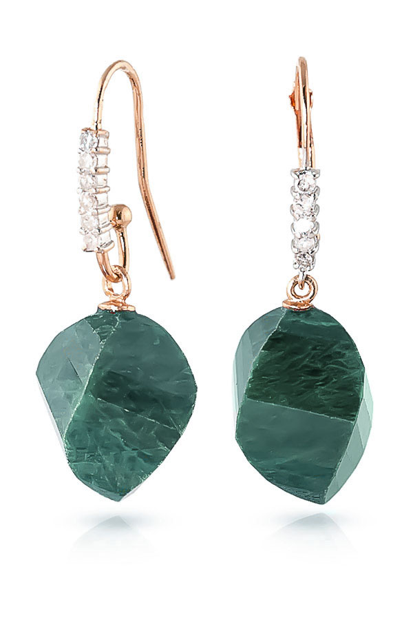 Emerald Drop Earrings 30.68 ctw in 9ct Rose Gold