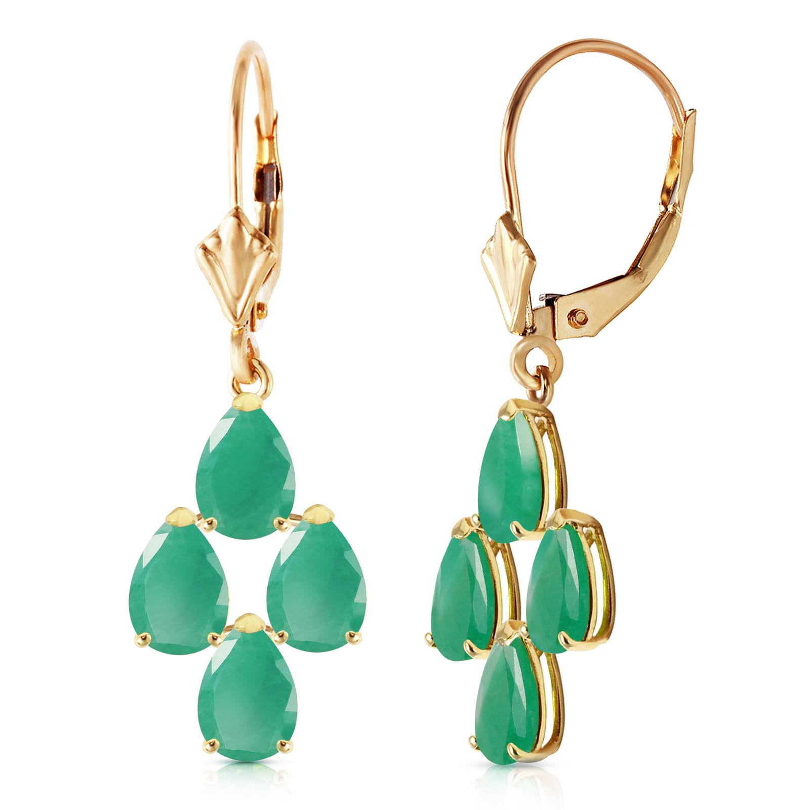 Emerald Drop Earrings 4.5 ctw in 9ct Gold