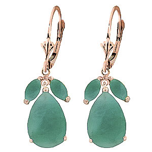 Emerald Drop Earrings 7 ctw in 9ct Rose Gold