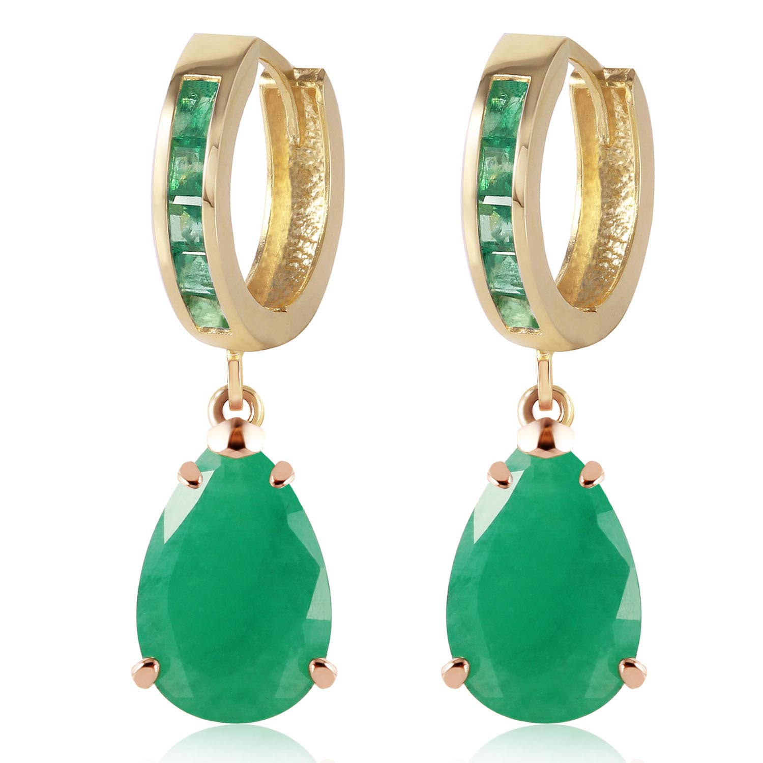 Emerald Droplet Huggie Earrings 1.3 ctw in 9ct Gold