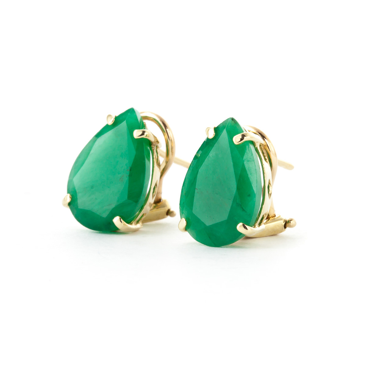 Emerald Droplet Stud Earrings 7 ctw in 9ct Gold