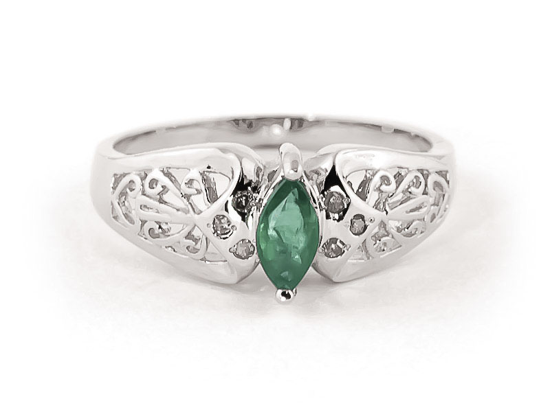 Emerald Filigree Ring 0.2 ct in 18ct White Gold