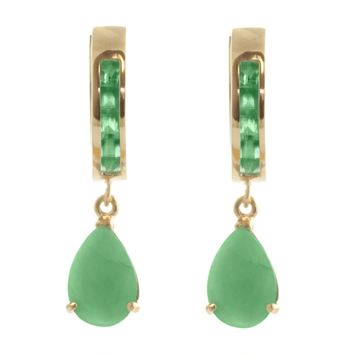 Emerald Huggie Drop Earrings 1.3 ctw in 9ct Gold