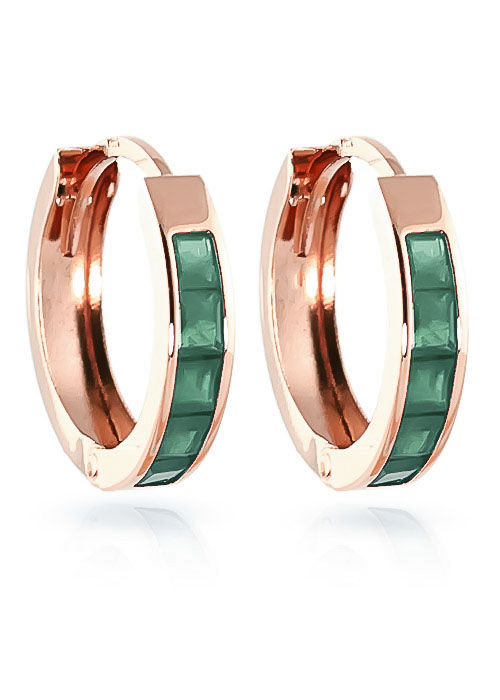 Emerald Huggie Earrings 0.8 ctw in 9ct Rose Gold