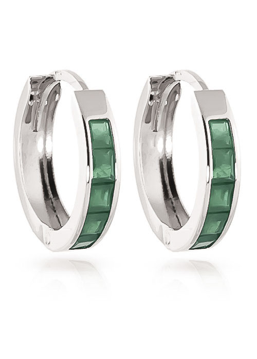 Emerald Huggie Earrings 0.8 ctw in 9ct White Gold