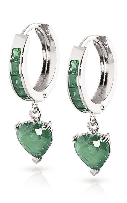 Emerald Huggie Earrings 0.85 ctw in 9ct White Gold