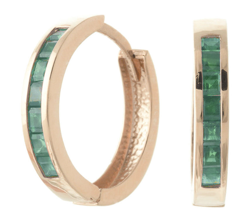 Emerald Huggie Earrings 1.85 ctw in 9ct Rose Gold
