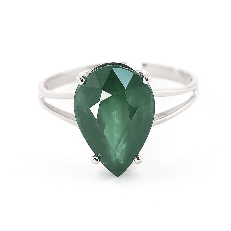 Emerald Pear Drop Ring 3.5 ct in 9ct White Gold