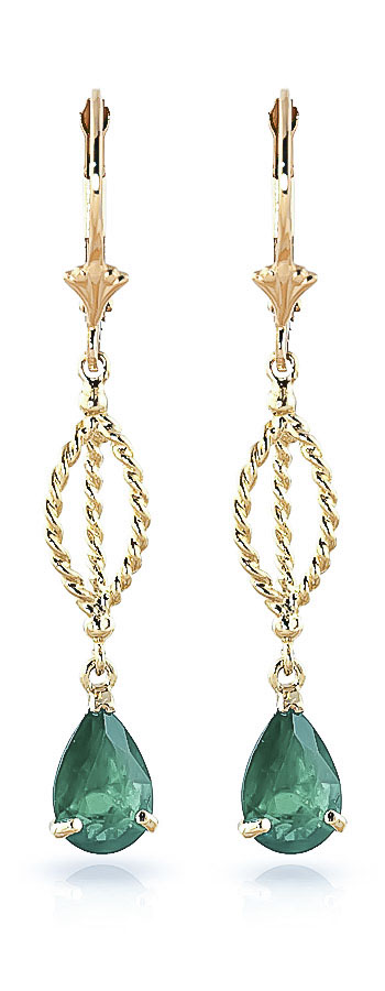 Emerald Sceptre Drop Earrings 2 ctw in 9ct Gold