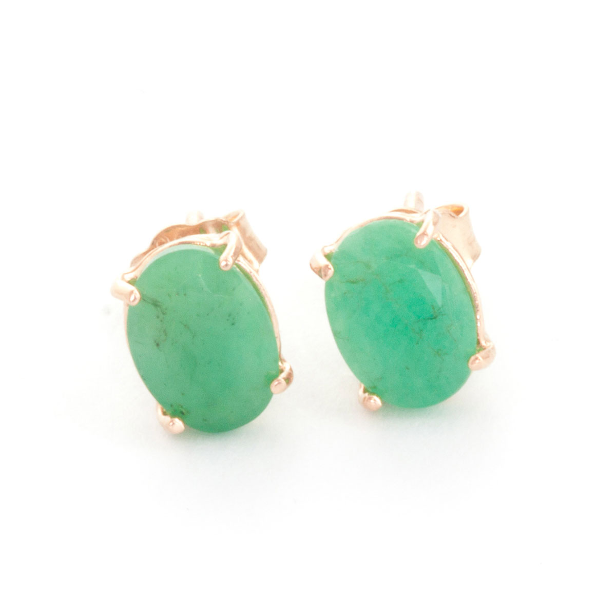 Emerald Stud Earrings 1.5 ctw in 9ct Rose Gold