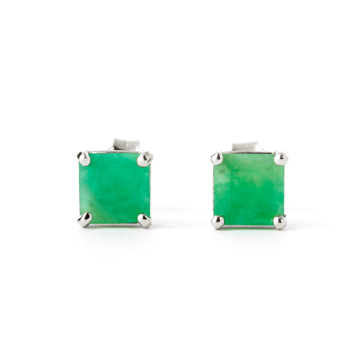 Emerald Stud Earrings 2.9 ctw in 9ct White Gold