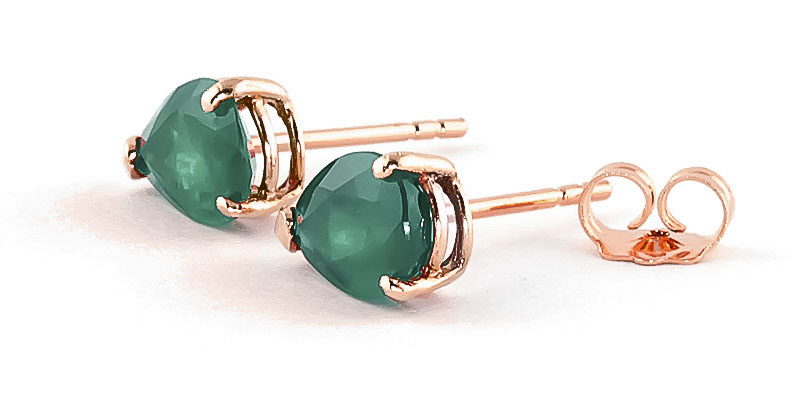 Emerald Stud Earrings 2 ctw in 9ct Rose Gold