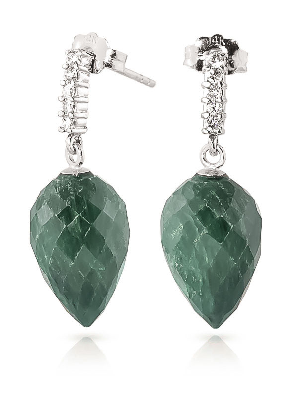 Emerald Stud Earrings 25.95 ctw in 9ct White Gold
