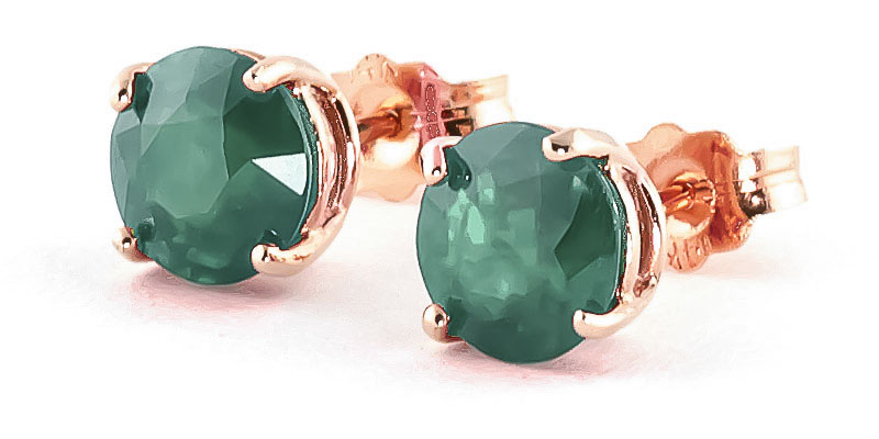 Emerald Stud Earrings 3.3 ctw in 9ct Rose Gold