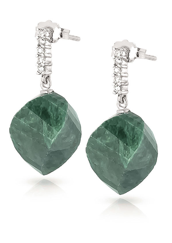 Emerald Stud Earrings 30.65 ctw in 9ct White Gold