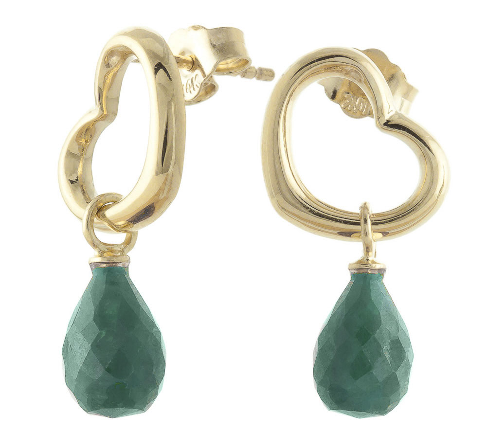 Emerald Stud Earrings 6.6 ctw in 9ct Gold