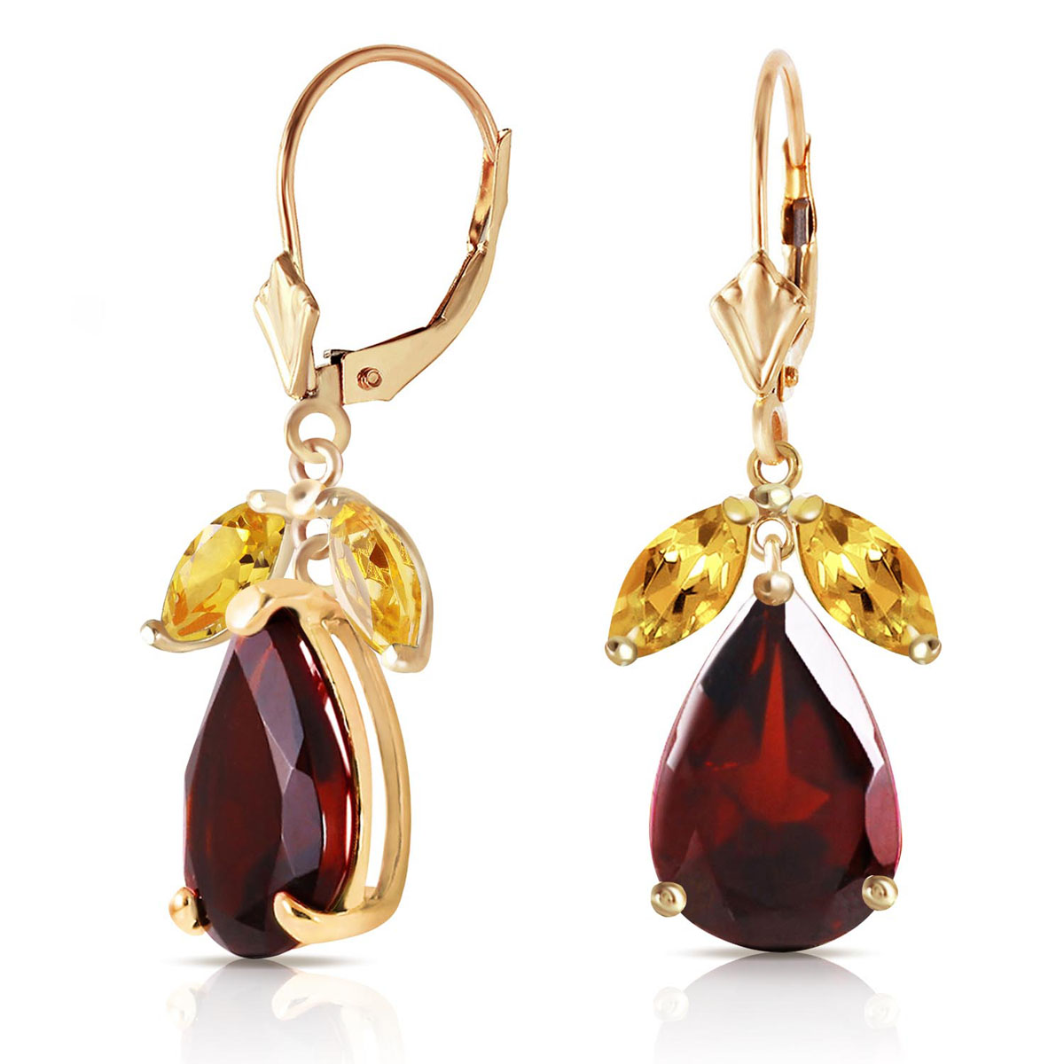 Garnet & Citrine Drop Earrings in 9ct Gold