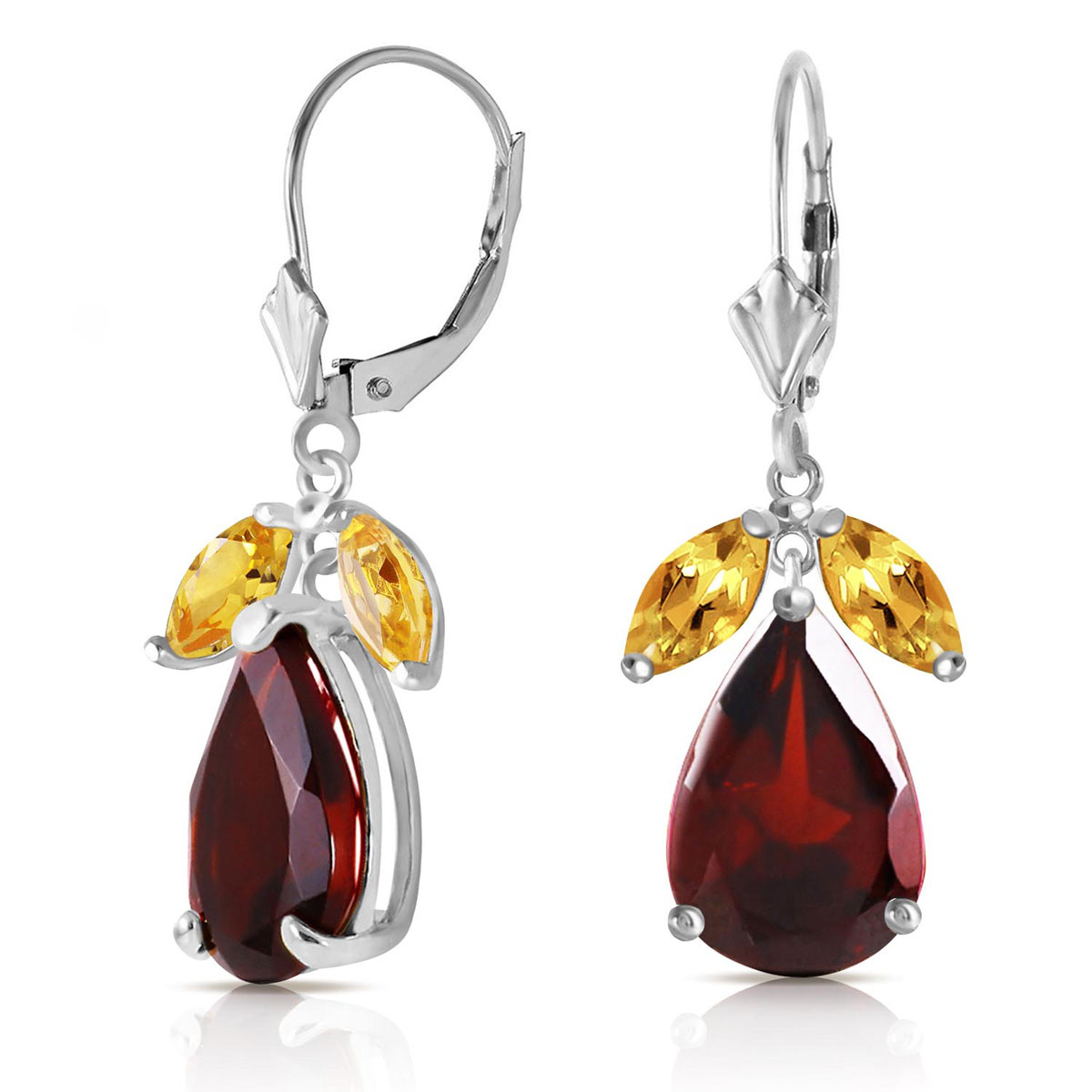 Garnet & Citrine Drop Earrings in 9ct White Gold