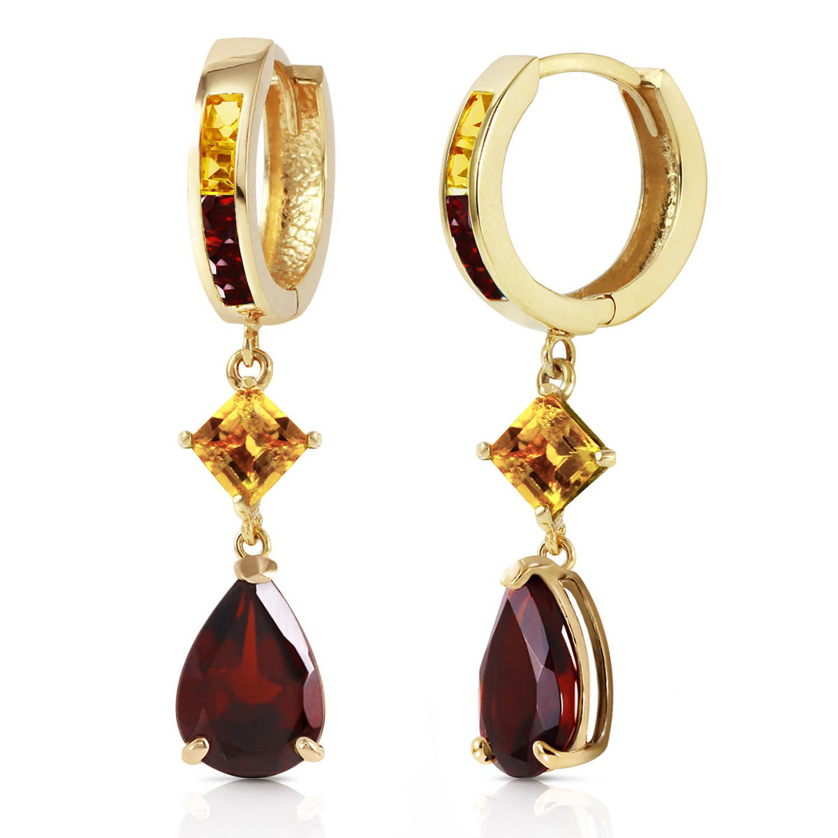 Garnet & Citrine Huggie Earrings in 9ct Gold