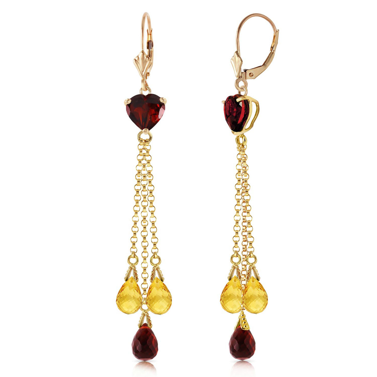 Garnet & Citrine Vestige Drop Earrings in 9ct Gold